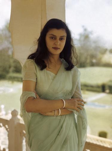Maharani Gayatri Devi in a pastel flowing chiffon