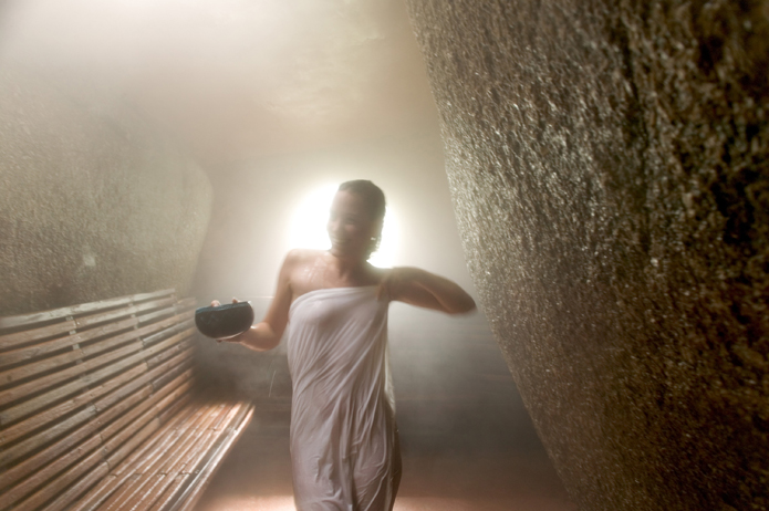 Experience the herbal caves for steam and sauna.