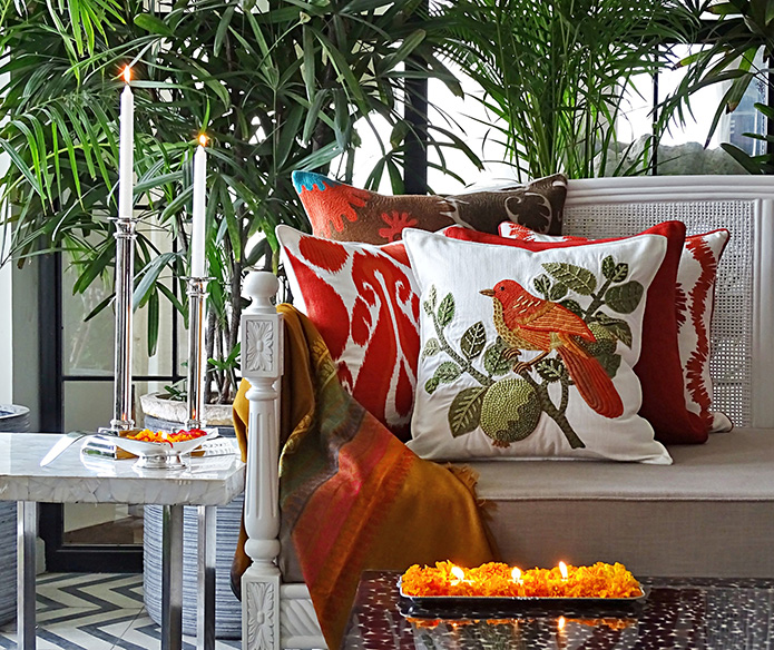 Beautifully embroidered decorative cushions by Sarita Handa.