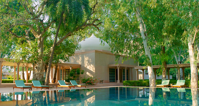 Pool at Amanbagh surrounded by lush green area