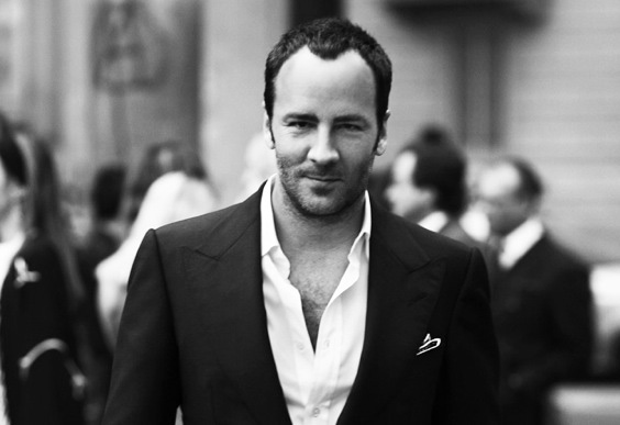 TOM FORD | One of the most celebrated American designer sports monochromatic power and a cool vibe in an open – necked white shirt