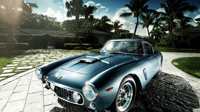DRIVING AWAY THE BLUES | There is something so romantic about the chrome grills and external mounted fixtures of vintage Ferraris that makes you fall in love almost instantaneously!