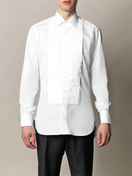 TURNBULL & ASSER | The pleated bib-front white shirt dress from this legendary shirtmaker is all about reinventing the classic