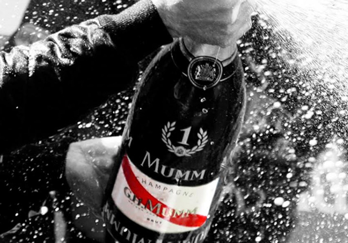An iconic French brand and prestigious house of champagne—GH Mumm is the official champagne brand of Formula One