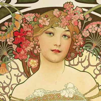 ARTFUL FASHION | Art Nouveau could be called the Pop Art of its time. In the picture is the famous Art Nouveau 1897 print by Alfons Mucha