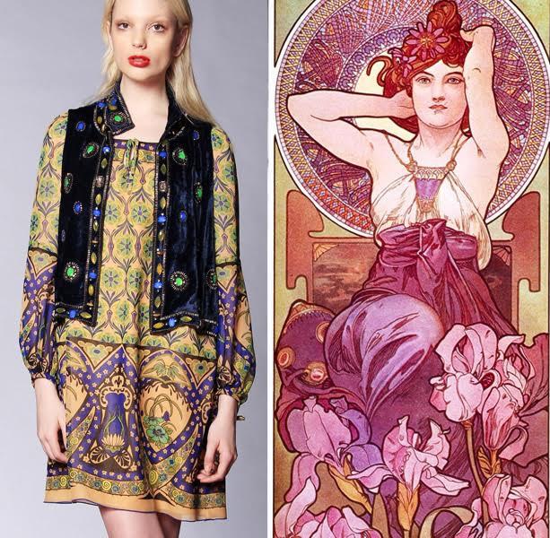 Anna Sui's trademark bohemian prints takes an Art Nouveau turn.