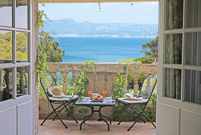 Room balcony of the hotel Delos situated on one of the Mediterranean islands—Ile de Bendor,  developed by Paul Ricard