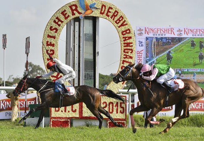 Dr Malya's horse Angel Dust leading the way, belonging to United Racing & Bloodstock Breeders ltd.