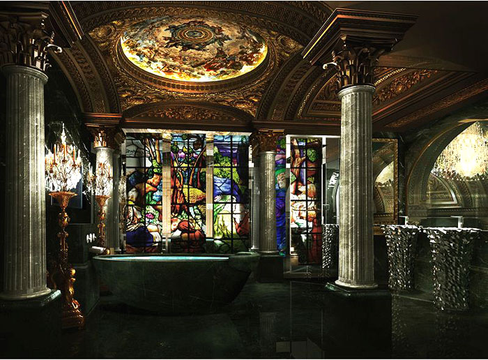 BATHE IN ART | The marble and stained glass baths have ceilings covered in artwork