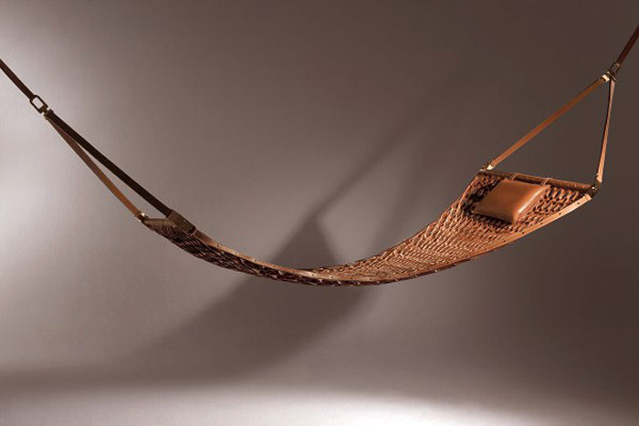 HOT HAMMOCK | Refined leather strips weaved to create a graceful web