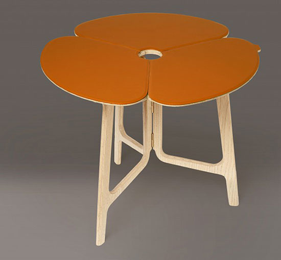 TABLE WITH A TWIST | With its flower petal design and ash-wood legs, this one is special