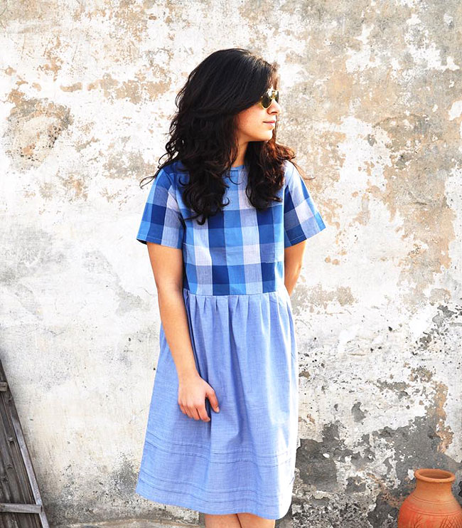 CHECK IN COOL | A preppy combination of blue checks and solid light blue cotton, this dress is perfect for a day out shopping or even for a Friday at work