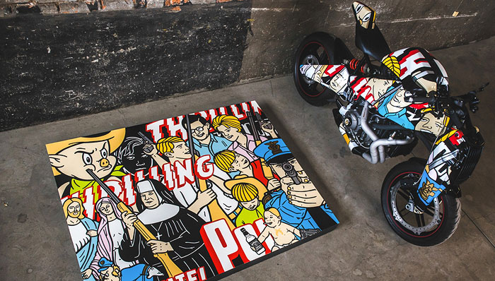 POP ART | Fashioned with elements of a comic-page pastiche by muralist Scot Lefavor
