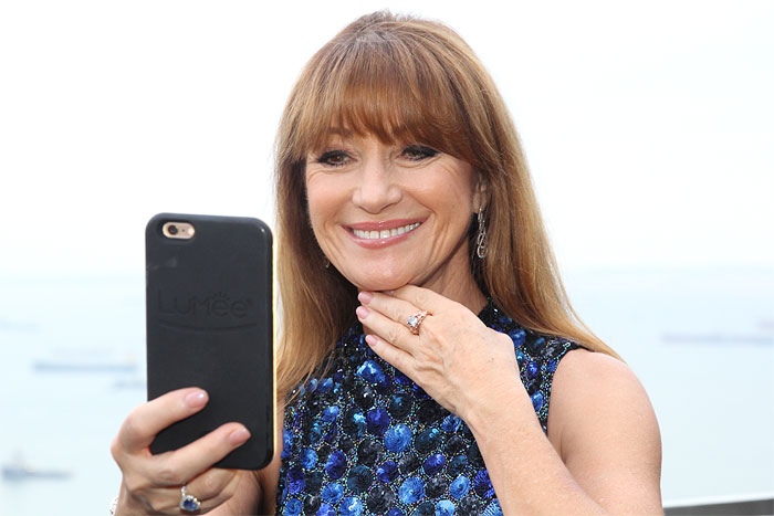 THE NAMESAKE | Jane Seymour takes selfie with her namesake, which was presented to her at a welcome dinner hosted by World of Diamonds at CE LA VI Singapore