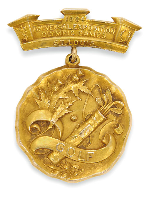 OLYMPIC GOLD | Hunter was awarded the 14 carat gold Golf medal at the St. Louis Games, one of only two Olympics in which the winners were presented with solid gold medals(Courtesy: Christie's)