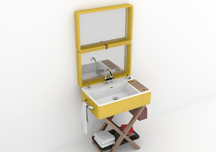 OLYMPICA CERAMICA | A complete vanity that packs up into a suitcase, My Bag, is a portable washbasin for those who like being particular