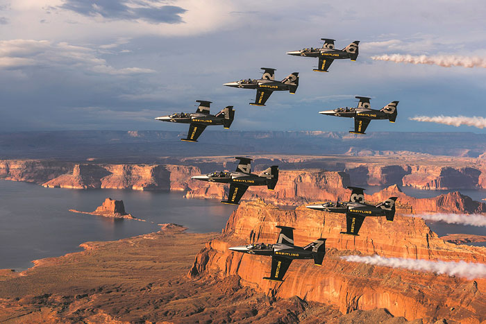 The Team did spectacular flights over sites like the Grand Canyon, Mount Rushmore, the Golden Gate Bridge and Monument Valley