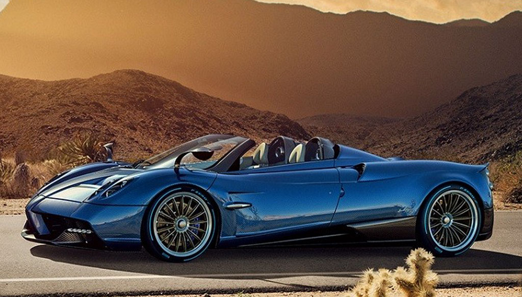 Pagani Huayra Roadster races with the wind
