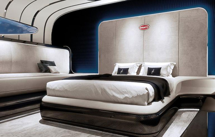 Designed for only two people, the yacht's master suite is equipped with a plush double bed