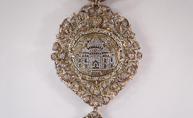 The Taj Mahal Necklace, flipped over, displays backings as intricate as the facade