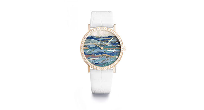 The Infinite Waves Watch with 78 brilliant cut diamonds and parchment marquetry paints a picture of the Mediterranean Sea at dawn