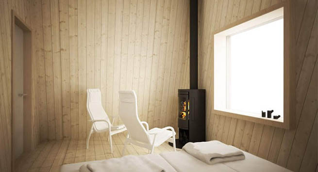 Minimalistic, Nordic style cabins have skylights to gaze at the Aurora Borealis right from your bed