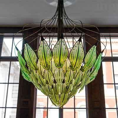 Eco friendly new age décor: Algae-filled glass chandelier!