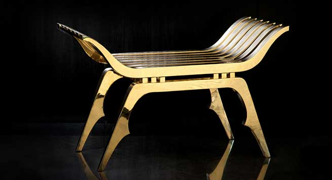 Masculine, art-deco inspired bespoke bench for Christian Louboutin Men's stores in London and New York