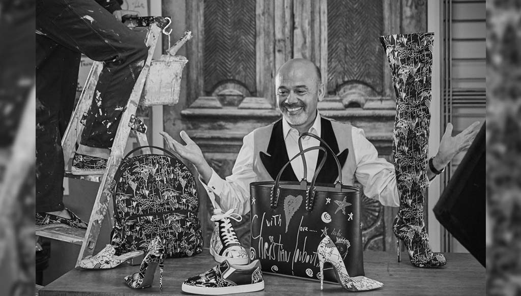 Christian Louboutin's Loubitag collection is covered with his messages and signature